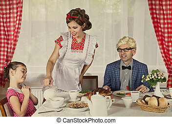 Vintage styled family at home - Vintage styled family...