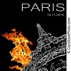 Terrorist attack in Paris - Pray for Paris Symbol of Paris...