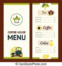 Tea Cafe Menu - Tea cafe menu design template with drinks...
