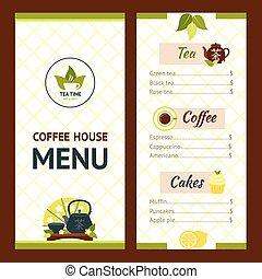 Tea Cafe Menu - Tea cafe menu design template with drinks...