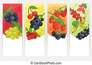 Berries Color Banners Set - Berries with nature and fresh...