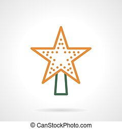 Christmas tree topper color line vector icon - Symbols of...