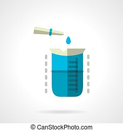 Chemical experiment flat color vector icon - Measure flask...