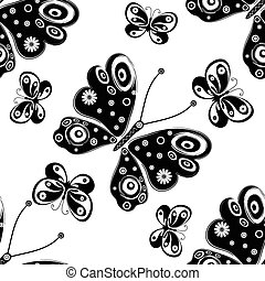 Seamless pattern with silhouettes butterflies