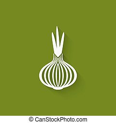 onion icon green background.
