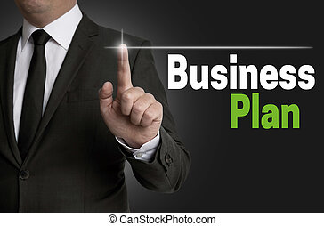 Businessplan touchscreen is operated by businessman concept.