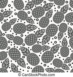 pineapple tropical fruit monochrome seamless pattern -