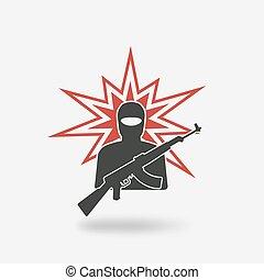 terrorist with gun.