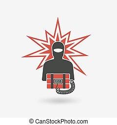 terrorist with bomb.