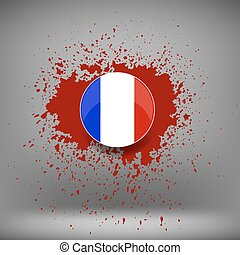 French Icon and Blood Splatter on Soft Grey Background