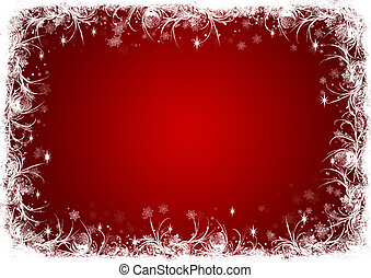 Red Christmas background with white frost