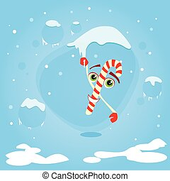 Christmas Candy Stick Cartoon Character Hang on Icicle...