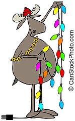 Moose handling Christmas lights - Illustration depicting a...