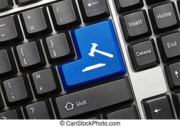 Conceptual keyboard - Blue key with gavel symbol - Close-up...
