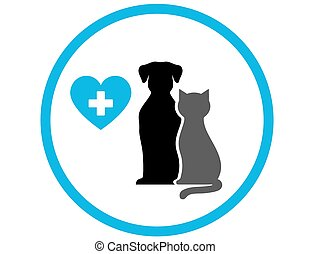 round veterinary icon with pet and heart in frame