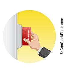 hand with card. it can be interpretated as ATM or electronic...