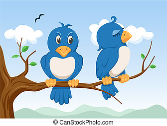 two birds on the tree with cartoon style