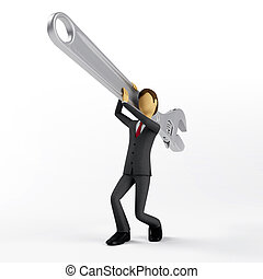 Repairing Business - Businessman carry a giant wrench to...