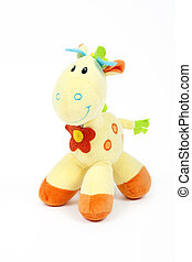 Cute horse or giraffe toy isolated on a white background