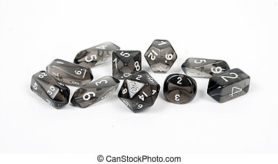 Black dice, runes isolated on white background - Black glass...