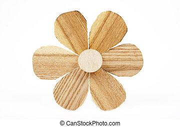 Flower wooden carving on white background. - Flower wooden...