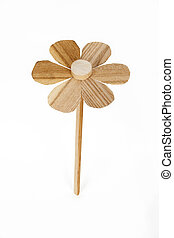 Flower wooden carving on white background - Flower wooden...