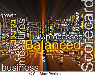 Balanced scorecard glowing - Word cloud concept illustration...