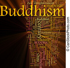 Buddhism word cloud glowing - Word cloud concept...