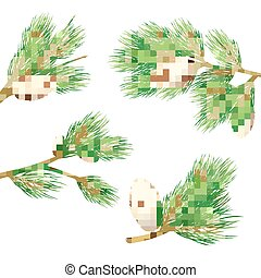 Pine Branches Set - Green pine branches with cones realistic...