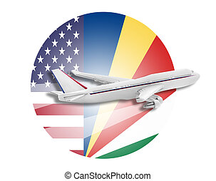 Plane, United States and Seychelles flags - Plane on the...