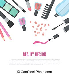 Beauty design. Cosmetic accessories for make-up
