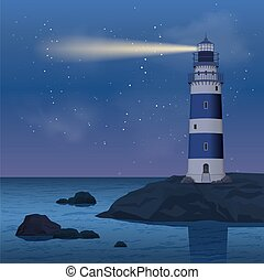 Lighthouse In Night