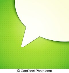 Talk Bubble Background - White paper talk bubble on green...