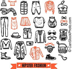 Fashion clothes hipster doodle icons set - Modern hipster...