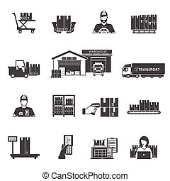 Storage Icons Set - Storage and logistics black white icons...