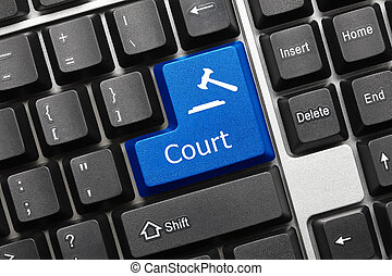 Conceptual keyboard - Court (blue key) - Close-up view on...