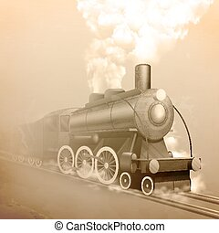 Old Style Locomotive - Old style locomotive with steam on...
