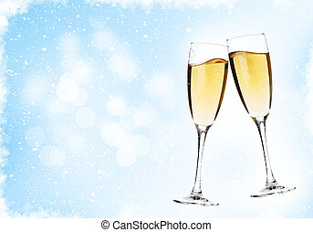 Two champagne glasses over christmas background with copy...