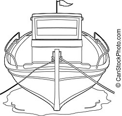 Drawing of a fishing boat - Vector illustration of a boat,...