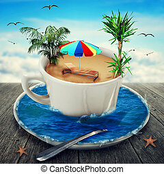 Cup of dreaming - Illustration of a magic cup filled with...