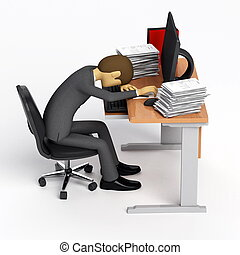 Exhausted and Depress - Businessman got exhausted and or...