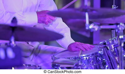 Professional Musician Playing The Drums - Close up shot with...