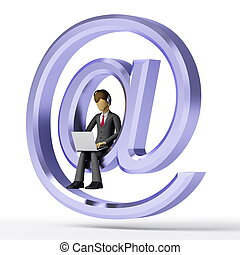 Internet Symbol - Businessman accesing the internet with his...