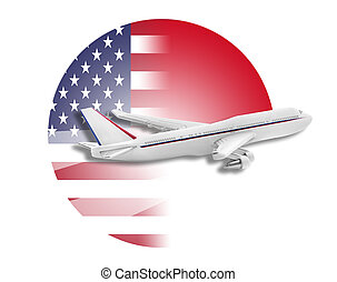 Plane, United States and Indonesia flags. - Plane on the...