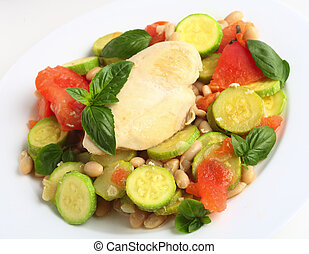 Italian chicken with zucchini, beans and tomato - Italian...