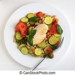 Italian chicken with courgettes and beans from above -...