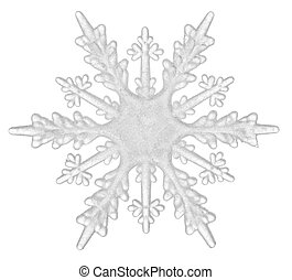 A beautiful white snowflake isolated on a white background...