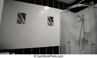 Interior black and white bathroom with shower - Interior...