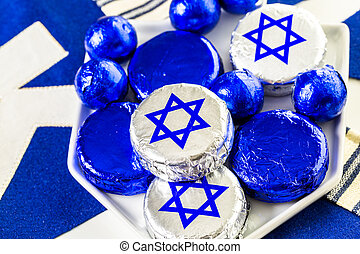 Hanukkah - Chocolates with Star of David for Hanukkah
