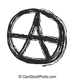 Anarchy symbol drawing, punk vector illustration